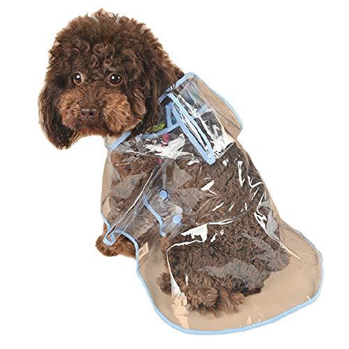 JKRTR Wasserdichter Hunderegenmantel Mit Kapuze Transparenter Regenmantel Für Heimtierbedarf(Blau,L)