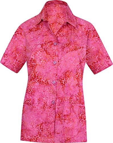 LA LEELA Strand tragen Kurze Ärmel lose Hawaii Hemd Rosa_AA138 XXL - DE Größe :- 50-54