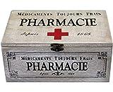 In legno, stile shabby chic, medicina Storage Box mantenere il suo primo soccorso Essentials ordinata e organizzata in questo elegante medicina. Realizzato in legno con un design e stile francese. Questa scatola ha un fermaglio per chiusura sicura. M...
