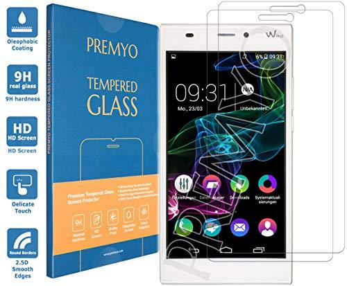 PREMYO Panzerglas Schutzglas Bildschirmschutzfolie Folie kompatibel für Wiko Ridge 4G Blasenfrei HD-Klar 9H 2,5D Gegen Kratzer Fingerabdrücke