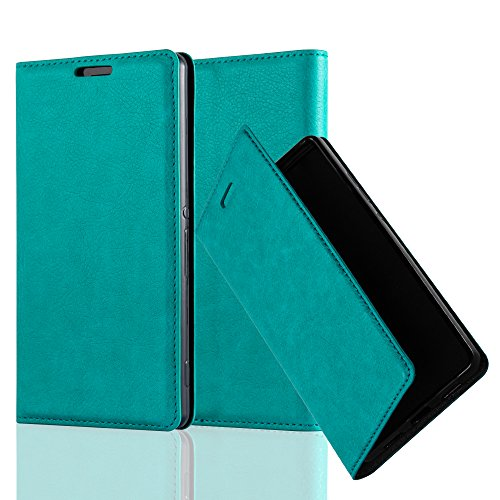 Cadorabo Hülle für Sony Xperia Z3 - Hülle in Petrol TÜRKIS – Handyhülle mit Magnetverschluss, Standfunktion und Kartenfach - Case Cover Schutzhülle Etui Tasche Book Klapp Style