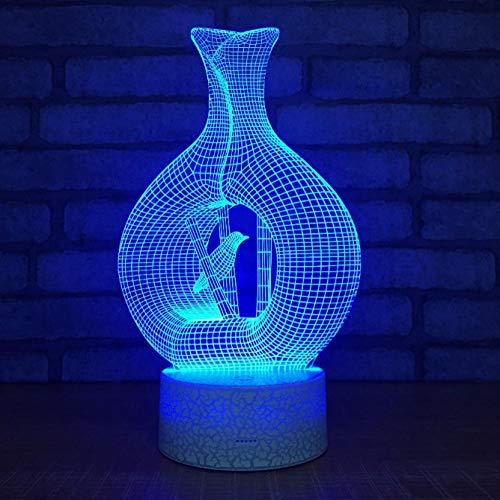 SFALHX Neuheit Vase Vogel Form LED 3D Tischlampe Acylic 3d Nachtlichter 7 Farben Ändern Tischlampe Für Kinder Geschenke -