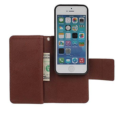 xhorizon FX Prämie Leder Folio Case [Brieftasche] [Magnetisch abnehmbar] Uhrarmband Geldbeutel Flip Vogel Tasche Hülle für iPhone 5 5s mit einer Auto Einfassungs Halter Beige mit Kugel Auto Einfassung Halter