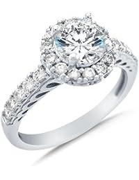14 K oro blanco Cirque Halo redondo corte brillante solitario piedras zirconia cúbico anillo de compromiso
