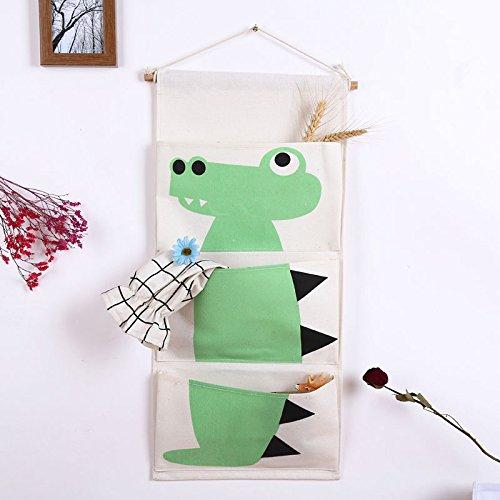 Algodón Tela de pared para puerta armario para colgar bolsa de almacenamiento funda con bolsillos prácticos Home organizador para el hogar decoración dormitorio de los niños & puerta verde cocodrilo