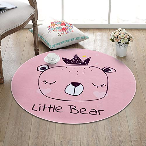 CKH Rosa Krone Bär Kinder Cartoon Einfache Runde Teppich Wohnzimmer Schlafzimmer Couchtisch Zimmer Hängenden Korb Bett Hause Computer Stuhl Carpet (Size : Diameter 80cm)