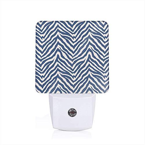 Zebra In Navy Plug-in Night Light Warm White LED Nightlight Dusk-to-Dawn Sensor for children-UK -