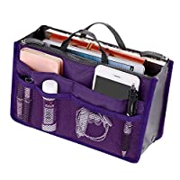 bottlewise Handbag Organiser Insert Expandable Liner Bag Pouch Zipper Closure Tote Cosmetic Travel Bag with Handle (Purple)