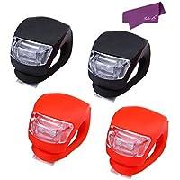 SalesLa 4 x LED del silicone della montagna della bici della bicicletta anteriore e posteriore Strobe ciclo Luci Kit Set ( 2*red+2*black) - Montagna Della Bici Della Bicicletta