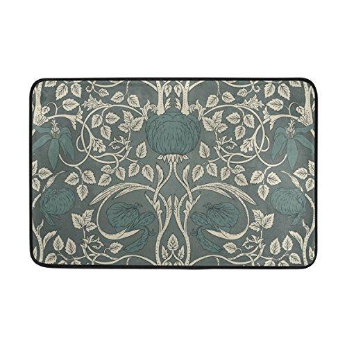 jstel William Morris-Fußmatte waschbar Garten Büro Fußmatte, Küche ESS-Living Badezimmer Pet Eintrag Teppiche mit Rutschfeste Unterseite 59,9x 39,9cm