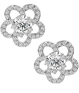 Orecchini Donna, cerchio fiore chiaro zirconia cubica, Orecchini a perno 1020101x