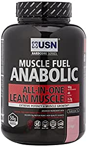 USN Muscle Fuel Anabolic Lean Muscle Gain Shake Powder, Strawberry - 2 kg