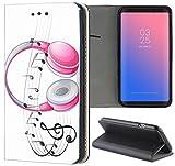 Samsung Galaxy Xcover 3 G388 Hülle Premium Smart Einseitig Flipcover Hülle Samsung Xcover 3 Flip Case Handyhülle Galaxy Xcover 3 Motiv (1565 Kopfhörer Pink Noten Musik)