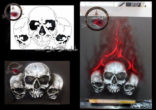 Profi Airbrush Schablone Skull Totenkopf Schädel Schablone - Stencil
