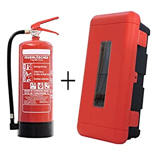 Feuerlöscher 6kg ABC-Pulverlöscher mit Schutzbox aus Kunststoff abschließbar inkl. ANDRIS® Prüfnachweis mit Jahresmarke