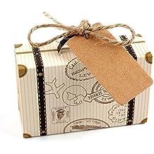 REFURBISHHOUSE 50 Piezas de Mini Caja de Dulces emn Forma de Maleta de Kraft Cajas de