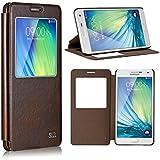tinxi® Bookstyle Kunstleder Tasche für Samsung galaxy A7 Flip Case Cover Schutzhülle Etui Hülle Schale mit Fenster Ansicht in braun
