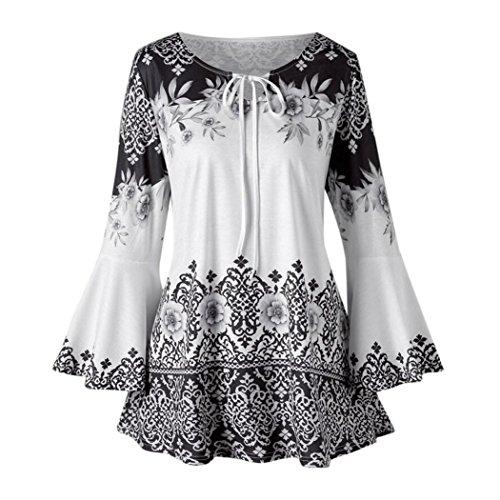 SEWORLD 2018 Damen Mode Sommer Herbst Beiläufige Schal Übergröße Gedruckt Aufflackern Ärmel Tops Blusen Schlüsselloch T-Shirts(Schwarz,EU-52/CN-5XL)