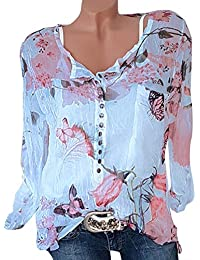 ShallGood Donna Camicia Basic Blusa Chiffon Floreale Maglietta Manica Lunga  Casual Sexy Ufficio V-Scollo Camicetta Elegante Top Tunica con… cbd488a7afd