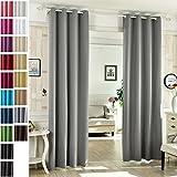 WOLTU #488-2, 2 x Gardinen Vorhang Blickdicht mit Ösen, 2er Set Leichte & Weiche Verdunklungsvorhänge für Wohnzimmer Schlafzimmer Tür, 135x245 cm, Grau