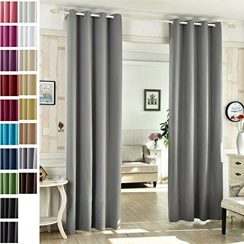 WOLTU #488-2, 2 x Gardinen Vorhang blickdicht mit Ösen , 2er Set Verdunklungsvorhänge Verdunkelungsgardine leicht Schal für Wohnzimmer Schlafzimmer Tür , 135x225 cm , Dunkelgrau