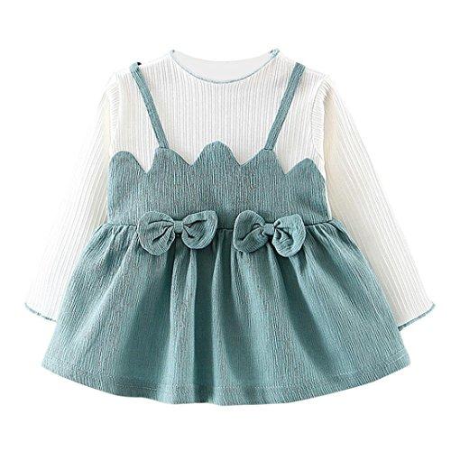 rinzessin Kleidung Babykleidung Langarm Baby Junge Mädchen Kleider Prinzessin Kleider Dresses Weich Baby Strampler Mädchen Beiläufig Party Prinzessin Kleider LMMVP (Grün, 24M) (Baseball-baby-kostüm)