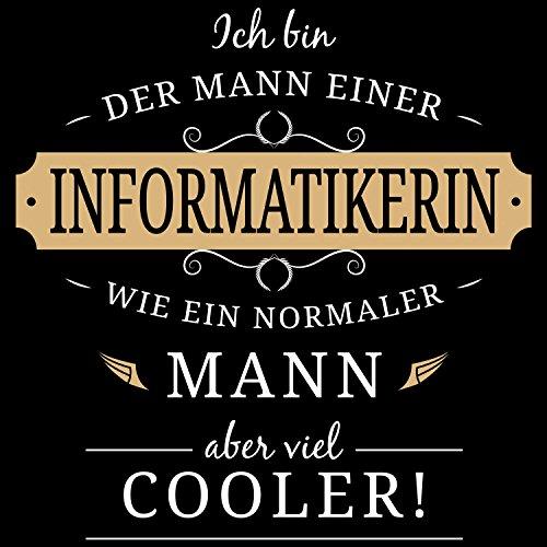 Fashionalarm Herren T-Shirt - Mann einer Informatikerin | Fun Shirt mit Spruch Geschenk Idee verheiratete Paare Ehemann IT Expertin Informatik Schwarz