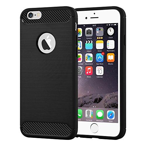 Preisvergleich Produktbild Cadorabo DE-104031 Apple iPhone 6 Plus / iPhone 6S Plus Handyhülle aus TPU Silikon in Edelstahl-Karbonfaser Optik Ultra Slim Soft Back Cover Case Bumper Brushed Schwarz