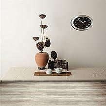 aaloolaa fotografía telón de fondo 5x 5ft vinilo fondo para estudio fotográfico archaistic teaism porcelana taza de té seco Lotus seedpod jarrón reloj de pared borrosos suelos de madera artística interior escena Props para grabación de vídeo Studio