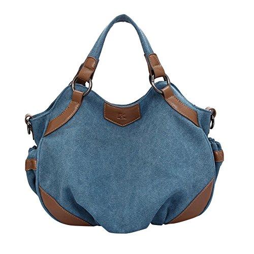 ZongSen donna Borse a mano Borsa annata a tracolla in tela stile Marrone Blu