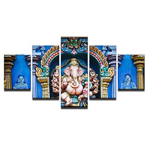 HOMOPK 5 Stücke Malerei Modulare Tapete HD Druck Auf Leinwand Wandkunst Wasserdicht Poster Bad Wohnzimmer Wohnkultur Bild Indien Ganesh B,Rahmen