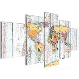 Bilder Weltkarte World Map Wandbild 200 x 100 cm Vlies - Leinwand Bild XXL Format Wandbilder Wohnzimmer Wohnung Deko Kunstdrucke Blau 5 Teilig - MADE IN GERMANY - Fertig zum Aufhängen 108751b