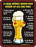 Schild Fun Türschild, Blechschild Alu geprägt + bedruckt Spruch /NEU/ Bier besser als Frau !