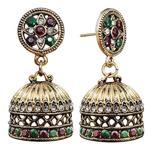 SimpleLife Crystals Mexico Gypsy baumeln Ohrringe Schmuck Ohrstecker Schmuck Zubehör Geschenk, ethnische Bali Jhumka Jhumki Brocade Ohrringe für Frauen Mädchen (Brocade-kleid-frauen)