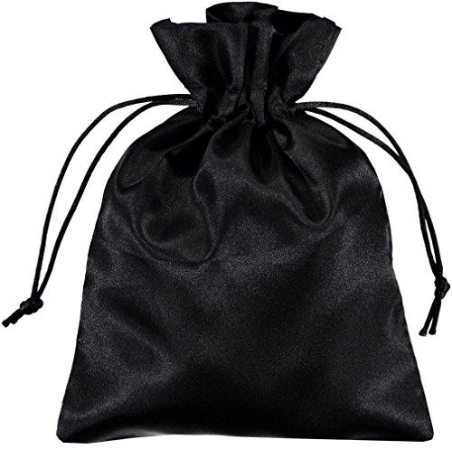 100 Stück Schwarz Satin Beutel 15x20cm - Perfekte Satin Geschenk Taschen - von Shingyo (Satin-beutel)