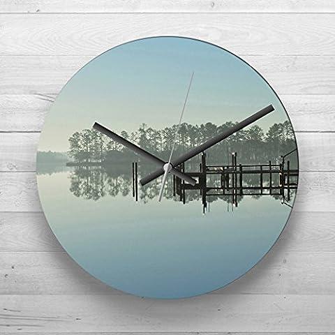 Large 32cm Analog Wall Clock - North Carolina Lake USA - Silent Non-Ticking Quartz Movement - FREE