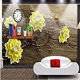Ytdzsw Gelbe Blume Der Hintergrundfotografie Des Fotos 3D Prägte Braunes Raumschlafzimmerpapierwandgemälde-3D-200X140Cm