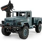 OOFAY Ferngesteuerter Geländewagen B-14 Fahrzeuge Vierrad Klettern Militär LKW High Speed Buggy Metall Shell Mit LED-Licht,Blue