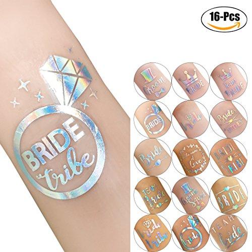 Body tattoos, kapmore 16pcs party temporaneo body sticker glitter sposa triba body body tatuaggi per la cerimonia nuziale