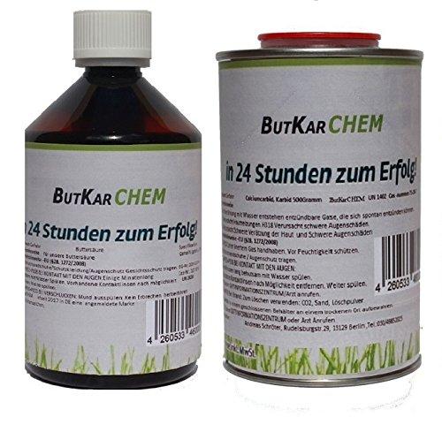 ButKarCHEM (BS & KA) 2 Liter Buttersäure und 0,5 KG Karbid im Vorteilspack *Gebrauchsfertig* EAN 4260533466209