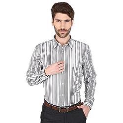 Big Tree High Quality Fabric Cotton Stripe Shirt (Size Large) (Color-Black)