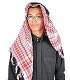 Egypt Bazar Traditionelle Arabische Kopfbedeckung Scheich - Araber Kopftuch- Karnevalskostüm/Farbe: rot-weiss
