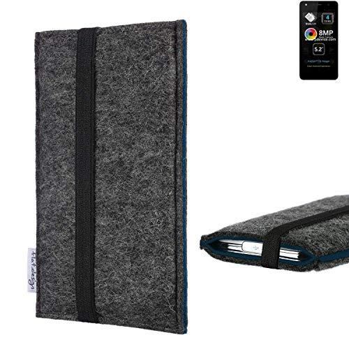 flat.design Handyhülle Lagoa für Allview A9 Lite | Farbe: anthrazit/blau | Smartphone-Tasche aus Filz | Handy Schutzhülle| Handytasche Made in Germany