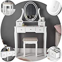IceCreamLiving Luna White Dressing Table with Oval Touch Vanity Mirror LED Lights and 5 Drawers Stool Bedroom Set