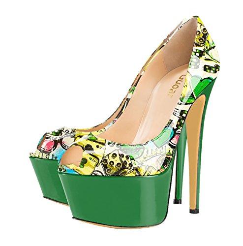 Guoar High Heels Mehrfarbe Damenchuhe Große Größe Lackleder Peep-Toe Plateau Pumps Party Hochzeit Bunt und Grün