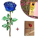 Blue Crystal Rose con di Metallo Laccato Dorato Gambo Dorato + Biglietto di Auguri. Everlasting-...