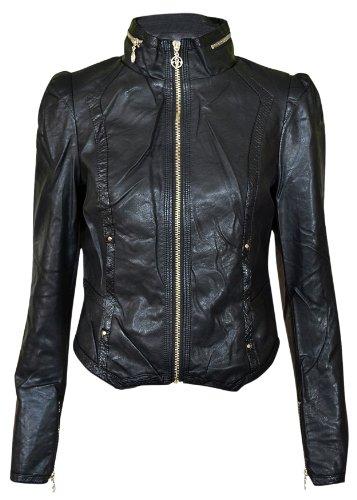 New Womens Faux Leather Pvc Pu Biker Gold Button Zip Crop Ladies Biker Jacket Coat Black Mint Coral 8 10 12 14