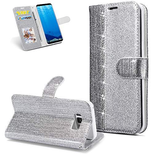 Huphant kompatibel mit Samsung Galaxy S8 Handyhülle Glitzer Leder Hülle Wallet Flip Schutzhülle Tasche mit Samsung Galaxy S8 Kartenfach Geldklammer Ständer Kartenfächer Magnet -Diamant silber