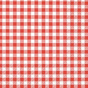 Home Fashion 111211 Tissue Servietten, Kariert, Rot, 25 x 25 cm, 3-Lagig, je 20 Stück/Pack