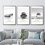 Impresiones de la lona Pintura de la lona Pintura de agua gris Piedra para sala de estar Dormitorio Cocina Sin marco